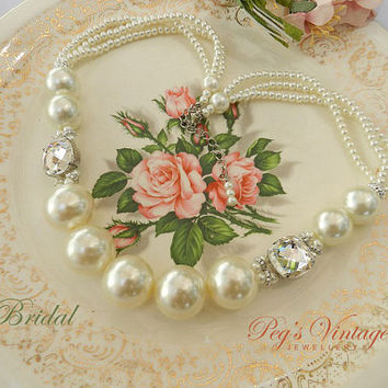 Large Pearl Necklace, Multi Strand Pearl Necklace, Classic Ivory Pearl Vintage Choker, Bridal Rhinestone Pearl Wedding