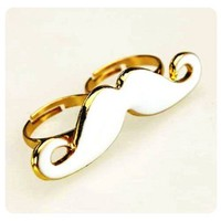 White Moustache Mustache Adjustable Ring Gold Accents | christinepurr - Jewelry on ArtFire