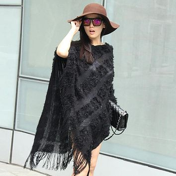 Women Pierced tassel Poncho sweater