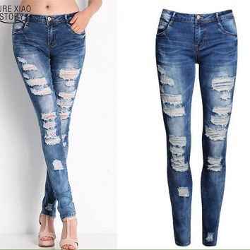 Fun Distressed Cotton Denim Stretch Bleached Ripped Skinny Jeans for Women