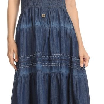 Sakkas Eva Womens Bohemiam Denim Off shoulder Dress Maxi Casual Smock Sundress