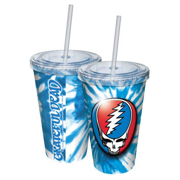 Grateful Dead - Steal Your Face Tie-Dye Acrylic Tumbler With Straw