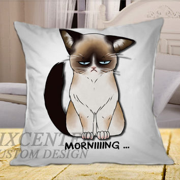 Grumpy Cat on Square Pillow Cover