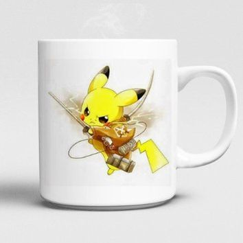 Attack on Titan Pokemon Pikachu Mug 11oz Ceramics