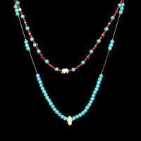 Hamsa Necklace with Turquoise beads, simple necklace, Turkish Jewelry