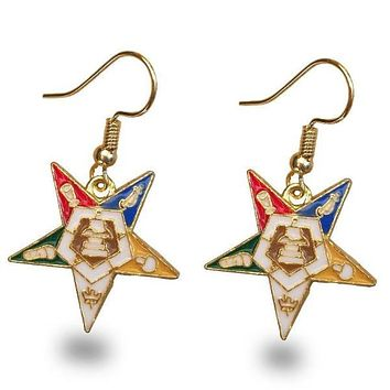 Order of the Eastern Star OES Golden Earrings