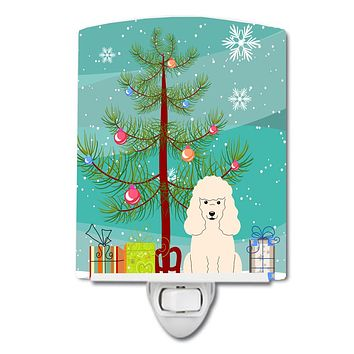 Merry Christmas Tree Poodle White Ceramic Night Light BB4195CNL