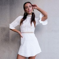 White Loudspeaker Summer Korean Hollow Out Slim Skirt One Piece Dress [256913997850]