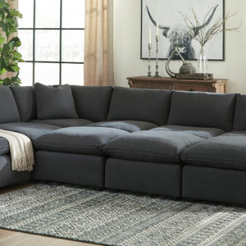 31104-64-77-46-3-65-08-3 9 pc Lotus savesto charcoal linen like fabric feather blend modular sectional sofa