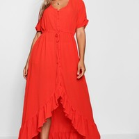 Plus Isobel Button Front Ruffle Hem Maxi Dress | Boohoo