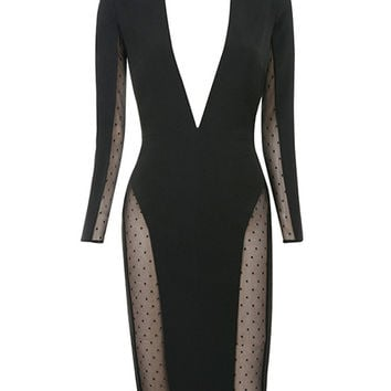 Victoria Mesh Black Stretch Crepe Dress