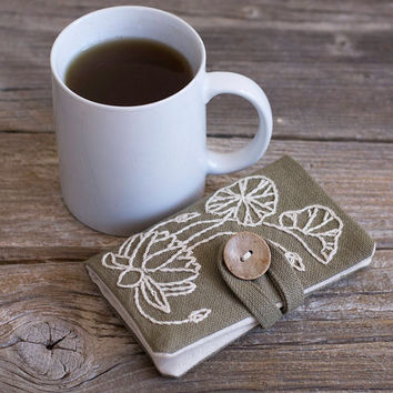 Khaki Tea Wallet with Hand Embroidered Lotus Flower in Natural White, Nature Inspired Tea Holder, Yoga Accessories, Gift for Tea Lover