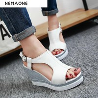 New 2017 summer sandals women peep toe girls wedges sandals high heels sexy strappy sandals female pink platform shoes sandals
