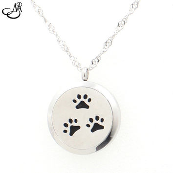 The Oily Essentials Aromatherapy Dog Paws Sterling Silver Pendant with Muli Colors Felt Pads 30mm by The Oily Essentials