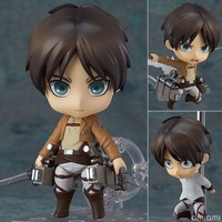 Anime Cute Nendoroid Attack on Titan Eren Jaeger #375 PVC Action Figure Collectible Model Toy Doll 10CM KT368