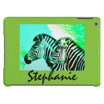 colorful zebra art on lime green to personalize iPad air case