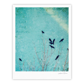 "Robin Dickinson ""Love One Another"" Blue Birds Fine Art Gallery Print"