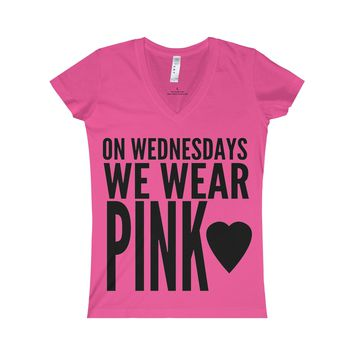 On Wednesdays We Wear Pink V-Neck Shirt Inspired By Mean Girls Rules