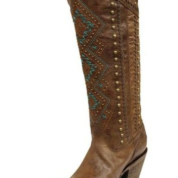ICIKAB3 Corral Chedron Turquoise Ethnic Pattern & Stud Boots C2897