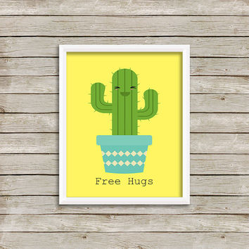 Free Hugs Cactus Wall Art, Print 8 x 10 INSTANT Digital Download Printable