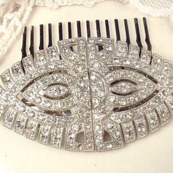 1930 Duette Brooch Or HaiR CoMB or Dress Fur Clips AUTHENTIC Art Deco Rhinestone Silver Bridal Sash Brooch OOAK Gatsby Head Piece Antique