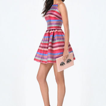 JANICE STRIPED LINEN DRESS