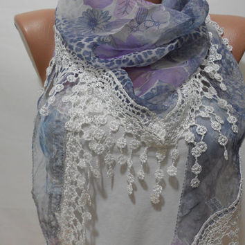 Lilac Chiffon Scarf Shawl Lavender Cowl Scarf with Lace Edge Floral Fringe Scarf Leopard Pattern Gift For Bridesmaids For Mother - ScarfClub