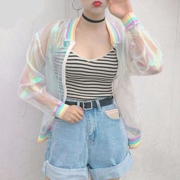VONE7HQ Holographic Transparent Summer Pastel Rainbow Jacket
