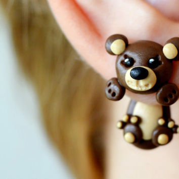 brown bear earrings,cute kawaii studs,front back earrings,double side earrings,animal ear jackets,two part earrings,clinging earring,earstud