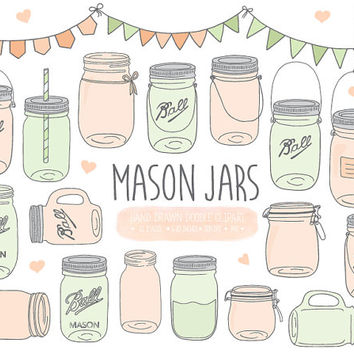 Mint & Peach Mason Jar Clip Art. Hand Drawn Doodle Mason Jar Clipart. Mint Scrapbooking Jam Jar, Pitcher, Jug, Bunting Banner Illustrations.