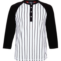 White/Black Baseball Long Sleeve T Shirt - TOPMAN USA