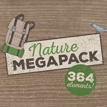 Nature Clipart MEGAPACK! Camping clipart, wilderness clipart, hand drawn illustrations, bear fox animals tent mountains s'more backpacking