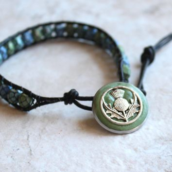 Scottish thistle bracelet - snake skin