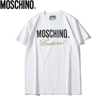 MOSCHINO Fashionable Women Men Casual Letter Print Round Collar T-Shirt Top White