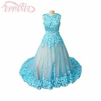 2017 Latest Light Blue Illusion Applique 3D Flowers Royal Sleeveless Organza Arabic Long Train Wedding Gowns Bridal Dress