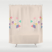 Geometric Shower Curtain Triangle Shapes  Toasted Almond Tan Beige Brown Nude Home Bath Room Unique Decor