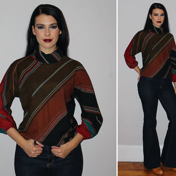 Vintage 70s CHEVRON Striped Blouse / Diagonal Stripes Brown, Black, Red, + Teal / Dolman Sleeve / Medium