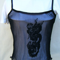 Vintage Sheer Black Mesh Chinese Dragon Tank Top Lingerie PJ Sexy Ladies Casual Camisole Cami Top Size Small Tattoo Alternative Eastern Asia