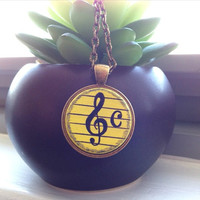 Treble Clef Necklace, Hand Painted Pendant, Music Necklace, Treble Clef Pendant, Music Note Jewelry, Gift for Musician, Music Jewellery