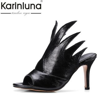 Top quality high heels summer shoes woman pumps sexy peep toe black white slip on mules women shoes