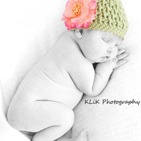 Raised Rib Texture Crochet Hat 0-3 month Adorable newborn photo prop--Photographer's favorite Easily can clip on flowers or bows