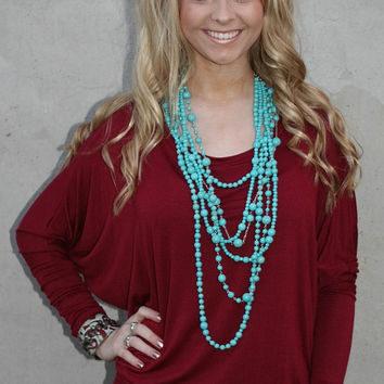 A Spot To Snuggle Maroon Slouchy Top