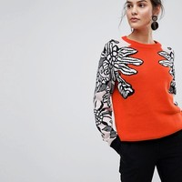 Y.A.S Floral Knitted Jumper at asos.com