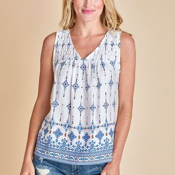 Skies Are Blue Printed Pintuck Detail Tank