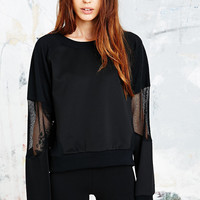 Sparkle & Fade Mesh Panel Sweatshirt in Black - Urban Outfitters