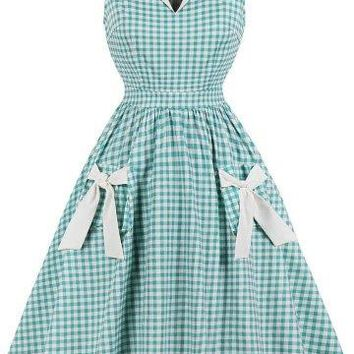 Green and White Plaid Dress