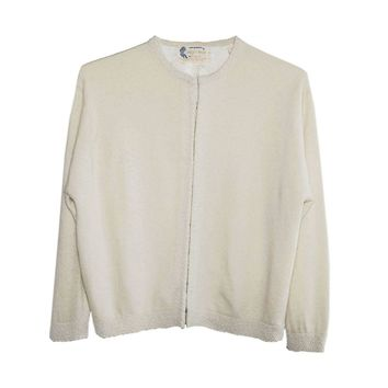 Vintage 1960s White Beaded Angora Sweater, Made in Hong Kong