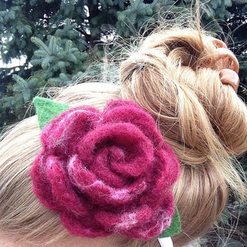 Wet Felt Flower Headband, Girls Hair Accessory, Flower Hair Piece: HANDMADE FIBER ART
