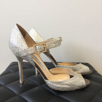 Jimmy Choo Glitter Sandals Size 39