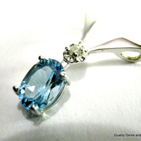 Swiss Blue Topaz&Diamond Pendant Gold 7MM X 5MM Oval 1,00 - 1.20 CT Natural Genuine Gemstone+Certificate Valentines Gift